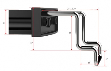 Angled holding brackets, dimensions in mm